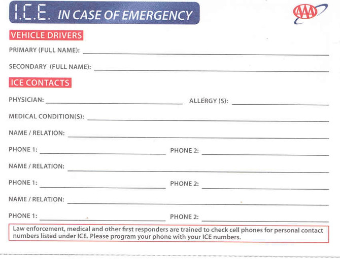 In Case of Emergency Cards