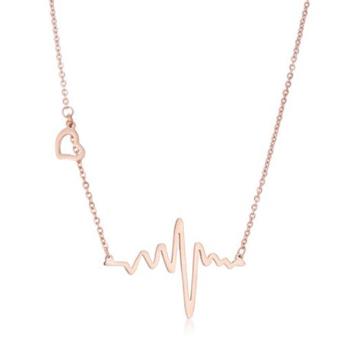 Electric Heart Necklace in Rose Gold