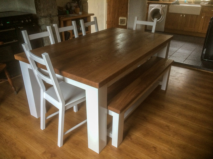 solid oak top table and painted chairs.j