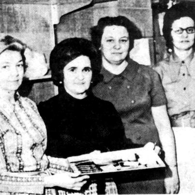Founders of the first Mennonite Central Committee (MCC) Thrift shops - Selma Loewen, Sara Stoesz, Linie Friesen, Susan Giesbrecht and dozens of women