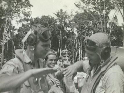 Ahrens (l) and Corbett (r) discuss maneuvers.