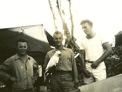 Elmes, Deatherage & Knowles with talking bird