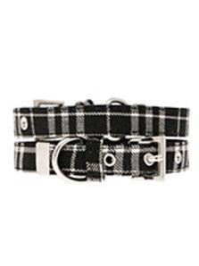 Black & White Tartan Fabric Collar