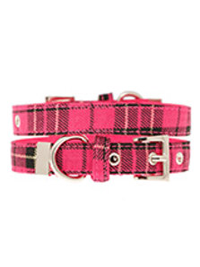 Fuschia Pink Tartan Fabric Collar