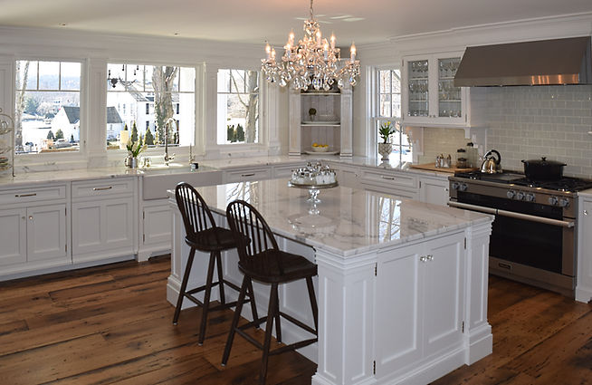 Curly maple hand crafted kitchen with fine handmade furniture