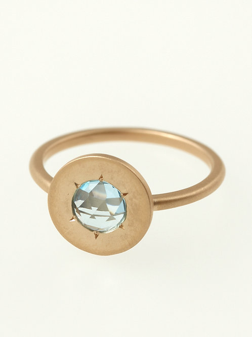SIMPLE ROSECUT RING BLUE TOPAS