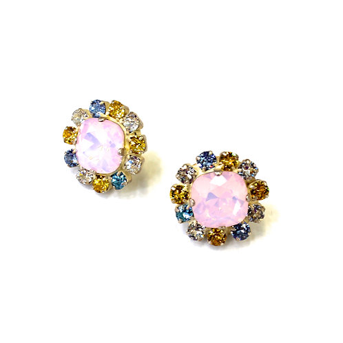 ROUND PIERCED EARRINGS PINK/BLUE/YELLOW
