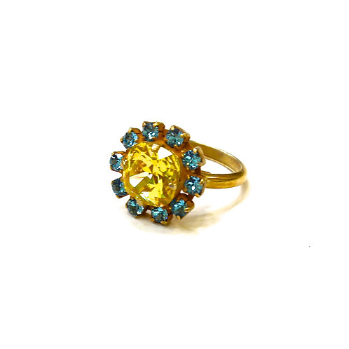 SMALL ROUND RING YELLOW/BLUE