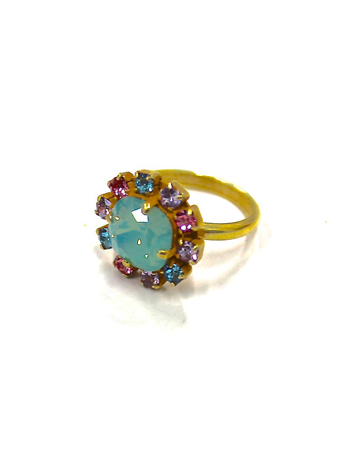 SMALL ROUND RING GREEN/MULTI