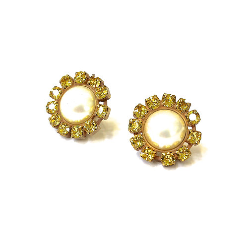 ROUND PEARL EARRINGS YELLOW