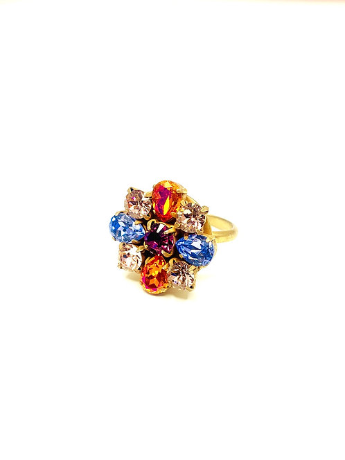 FLOWER RING ORANGE/BLUE