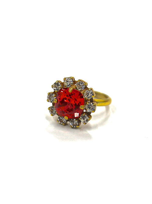 SMALL ROUND RING RED/CLEAR