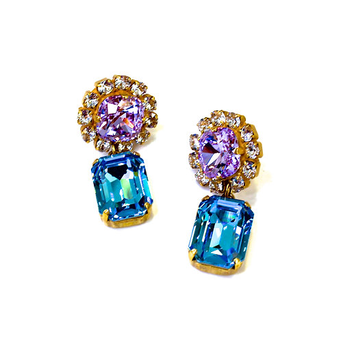 SQUARED EARRINGS PURPLE/BLUE