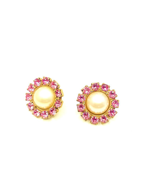 ROUND PEARL EARRINGS L.PINK