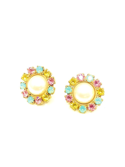 ROUND PEARL EARRINGS GREEN/PINK/YELLOW