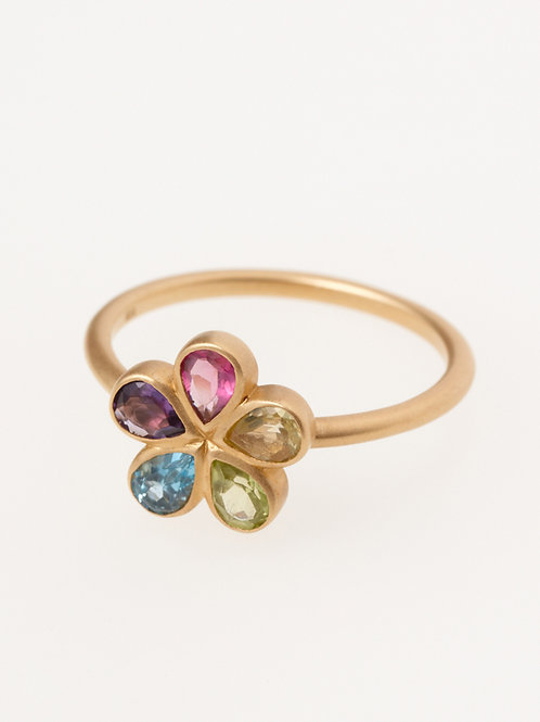 MIX COLOR STONE RING FLOWER