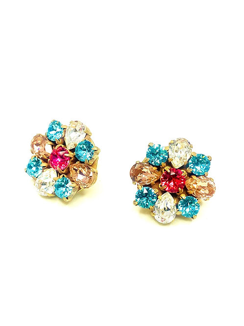 FLOWER EARRINGS BLUE/PINK