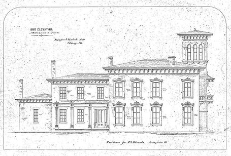 Plans for a large Italianate house with four chimneys, advancing larger as it goes to the right, ending with a large cupola.