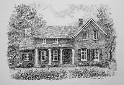 Edwards Place artist recreation drawing of a one-and-a-half story home with shutters on the downstairs windows and a small front porch.