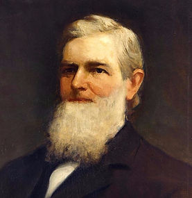 A. G. Edwards - painted portrait of a late middle-aged man in a black suit with a full beard reaching to his chest and side combed hair.
