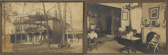 Two images - the one on the left is of a two-and-a-half story Italianate home surrounded by thin trees. The right image shows two rooms separated by a square arch and decorated with many pieces of furniture.