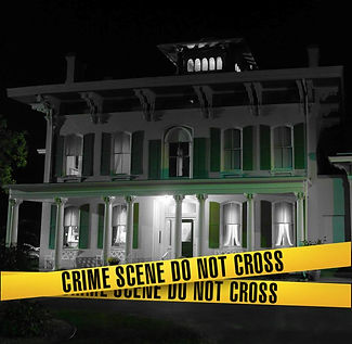 "Edwards Place exterior with crime tape across front reading ""Crime Scene Do Not Cross"""