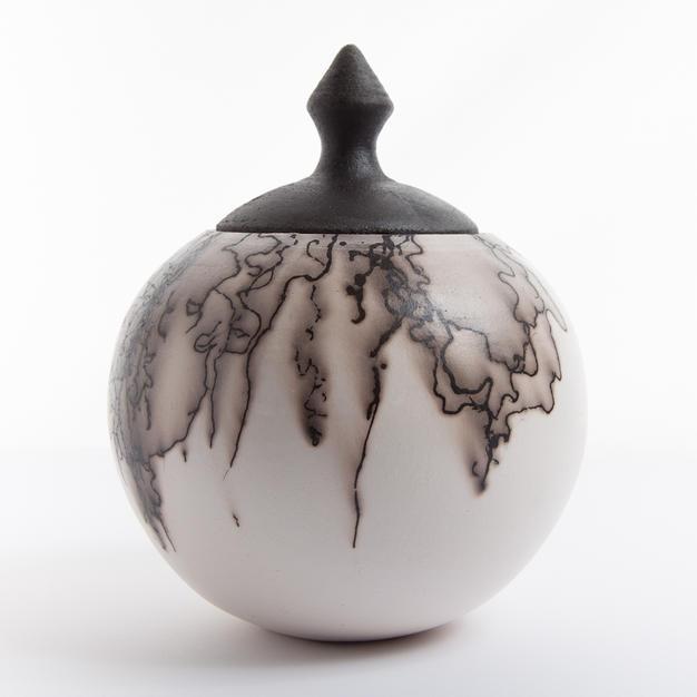 Horsehair embellished jar