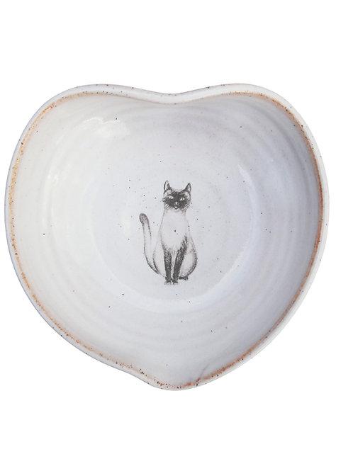 Cat heart shaped trinket bowl