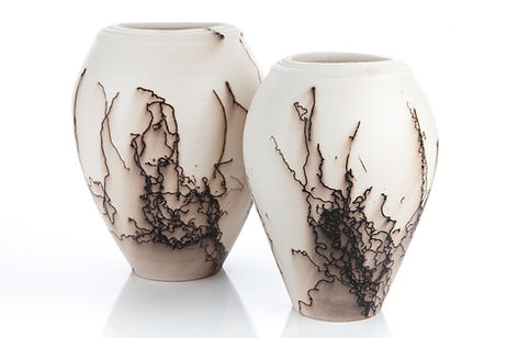 Horsehair embellished vases