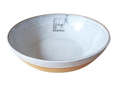 Irish Cob horse pasta bowl