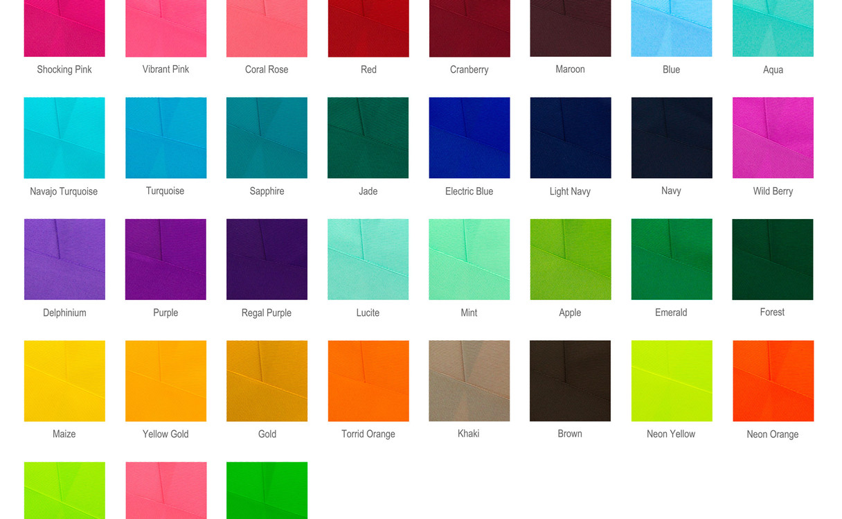 3 Inch Grosgrain Color Chart