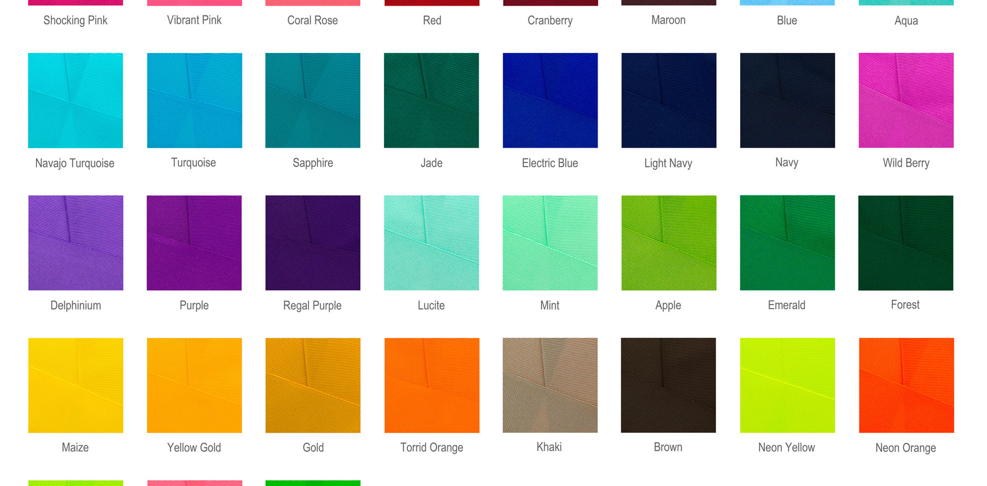 3 Inch Grosgrain Color Chart
