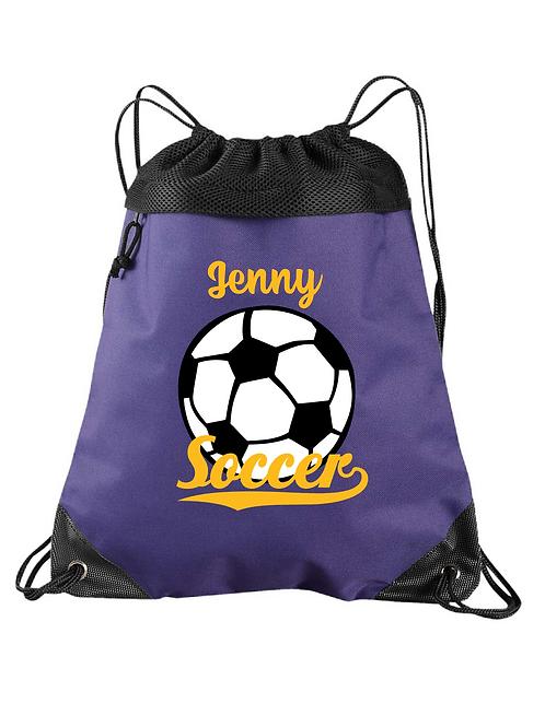 Mesh Top Zippered Cinch Bag - Customizable