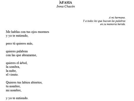 Poema de Inma Chacón, poeta y escritora, dedicado a su hermano Lorenzo y a las personas con afasia .
