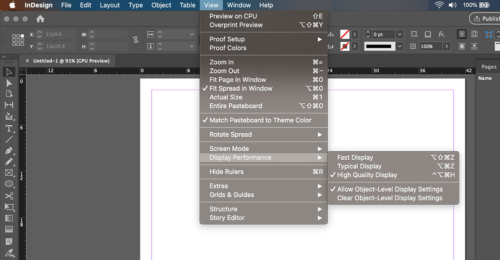 High Quality Display performance selection InDesign