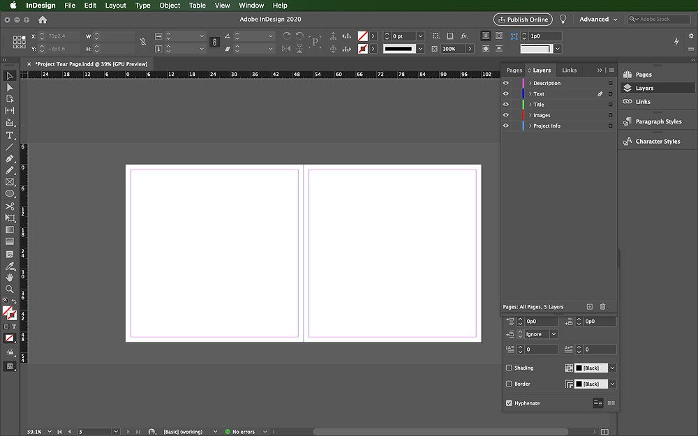 Setting up layers InDesign
