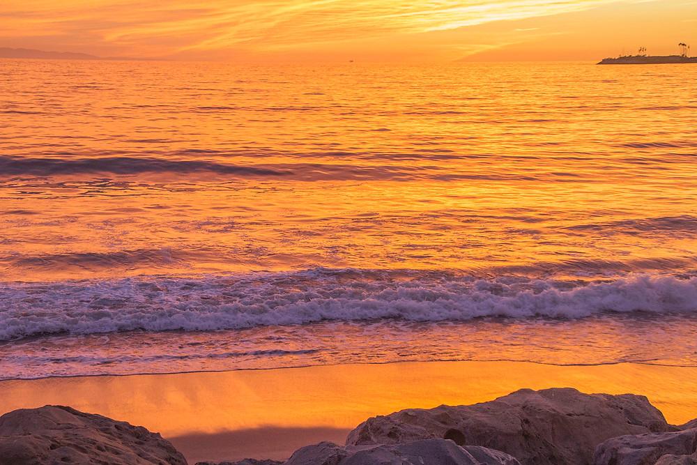 Golden sunset waves