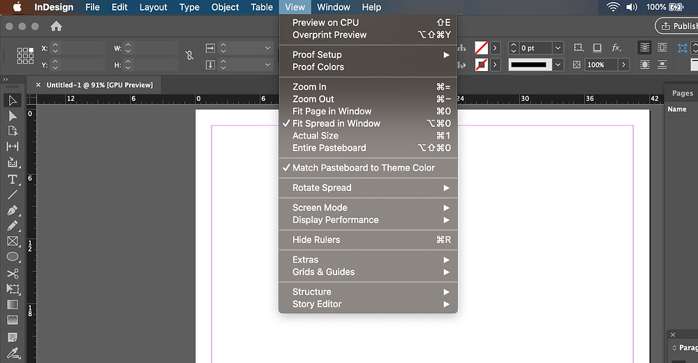 View tool bar in InDesign