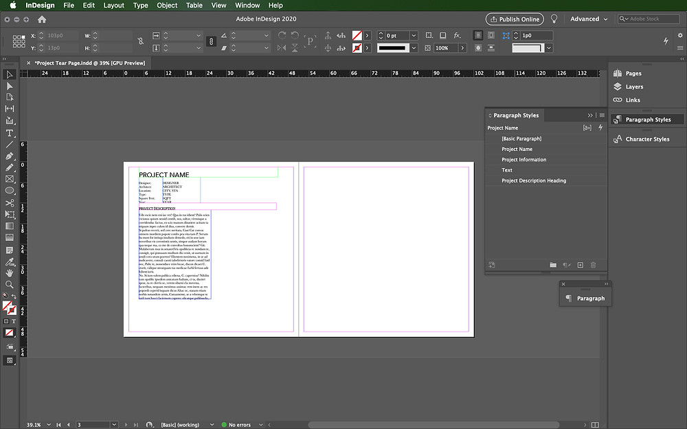 Paragraph styles InDesign