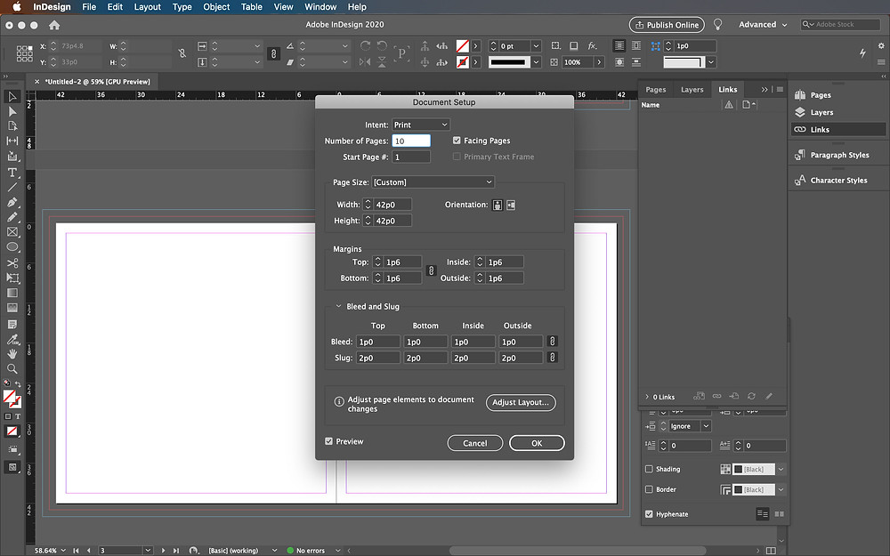 Bleed and slug in InDesign