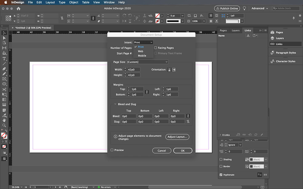 Intent Document Setup InDesign