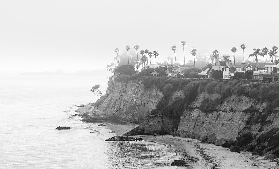 Foggy cliffs of Santa Barbara Coast
