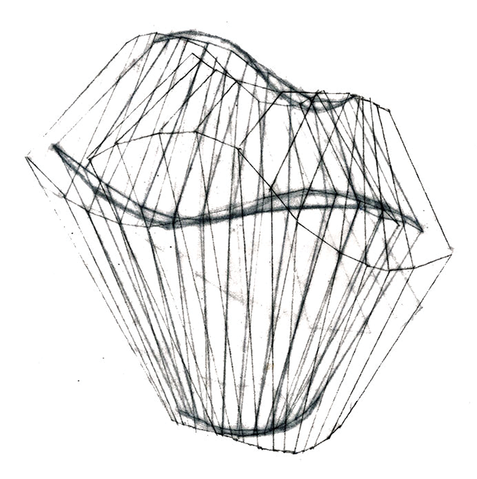 A two dimensional representation of this movement is not adequate. Thisdrawing is aninterpretation of how this motion occurs over time, in a volumetric space.