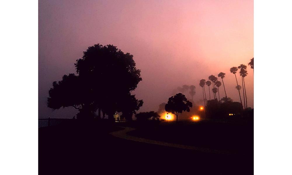 Foggy night in Santa Barbara, CA