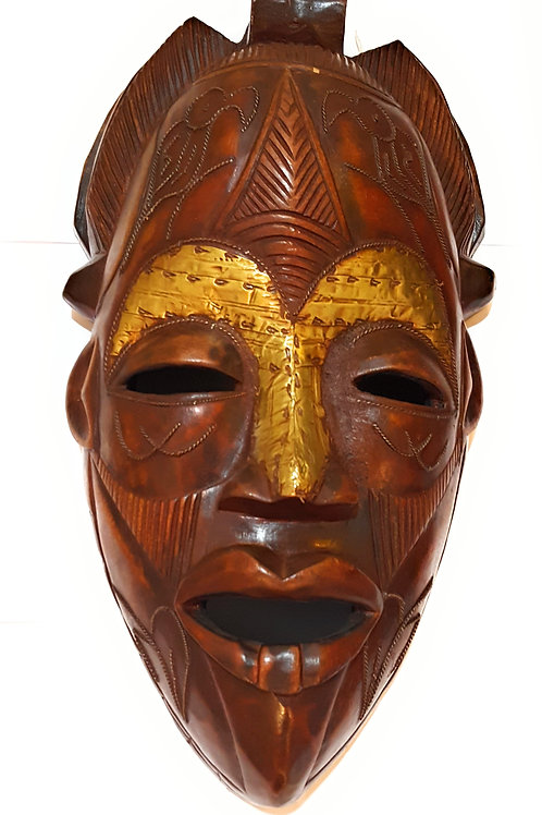 """1 Piece of 16"""" Large African Wood Mask in Brown"""