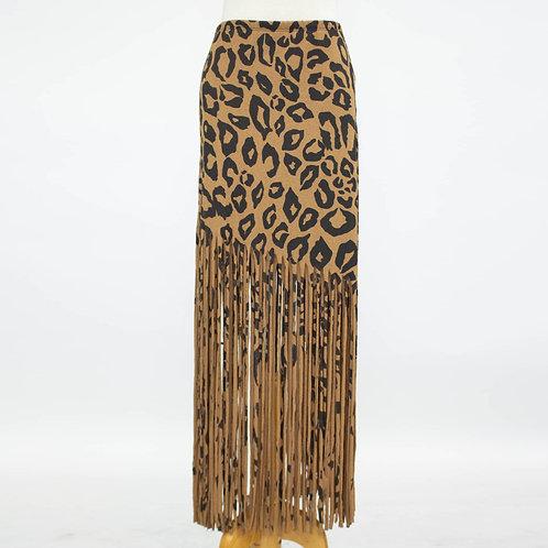 Bold Animal Print Skirt With Fringe