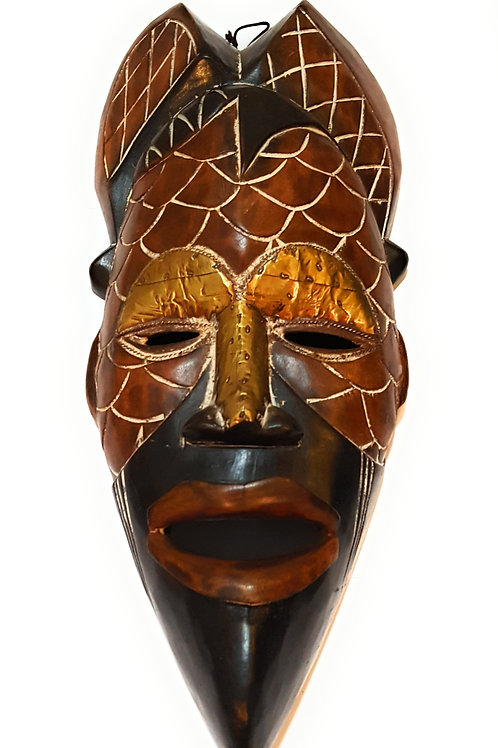 """1 Piece of 12"""" African Wood Mask: Brown and Black"""