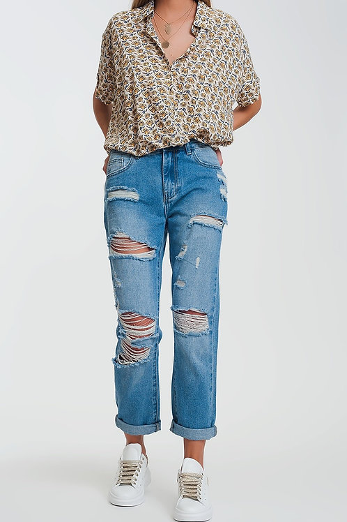 Mid Wash Denim Ripped Straight Jeans