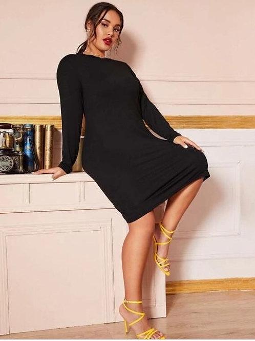 Sleeved Black Tee Dress Look