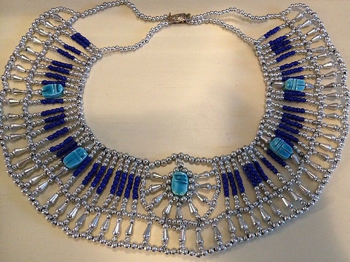 Egyptian Queen Beaded Collar Necklace Baby Blue/Turquoise Navy Blue and Silver